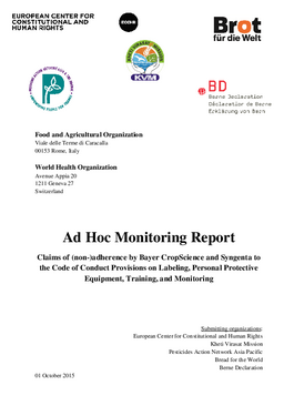 Cover page: Ad Hoc Monitoring Report