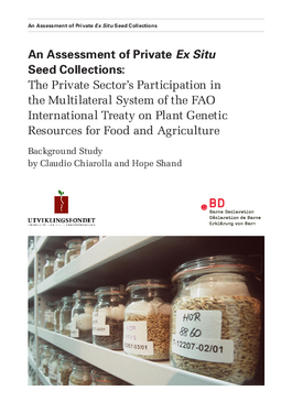 Cover page: An Assessment of Private Ex Situ Seed Collections