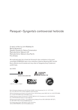 Cover page: Paraquat – Syngenta's controversial herbicide