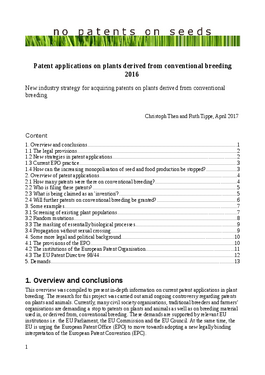 Couverture du rapport: Patent Applications on Plants Derived from Conventional Breeding